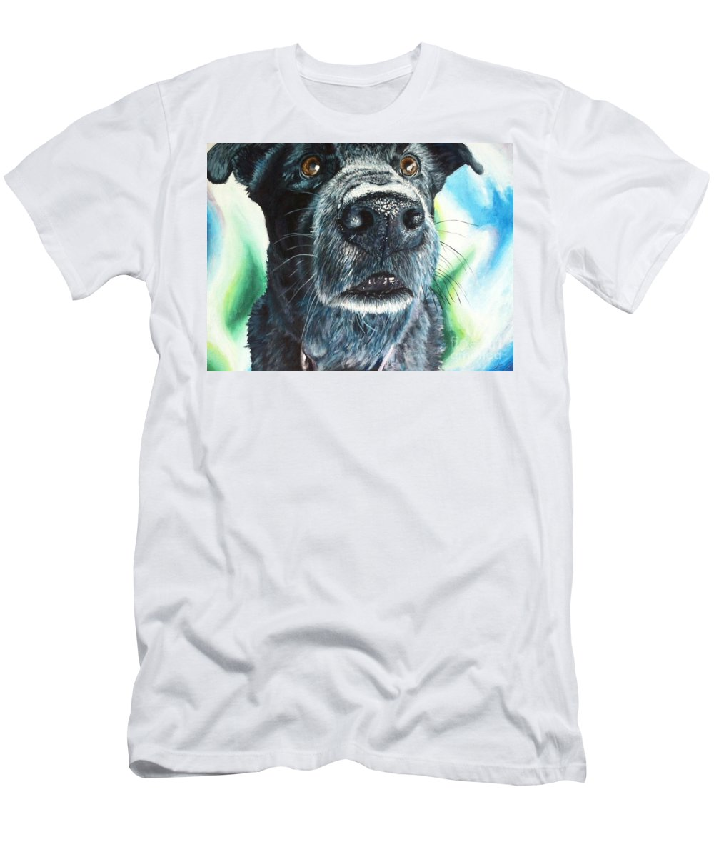 Dog Men's T-Shirt (Athletic Fit) featuring the painting Black Lab by Bronwyn Gauley