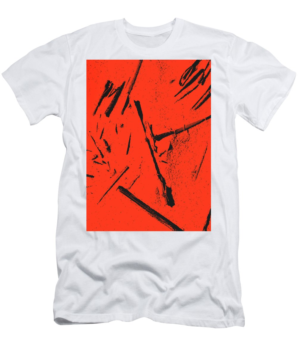 Men's T-Shirt (Athletic Fit) featuring the digital art Black On Red by Iris Posner
