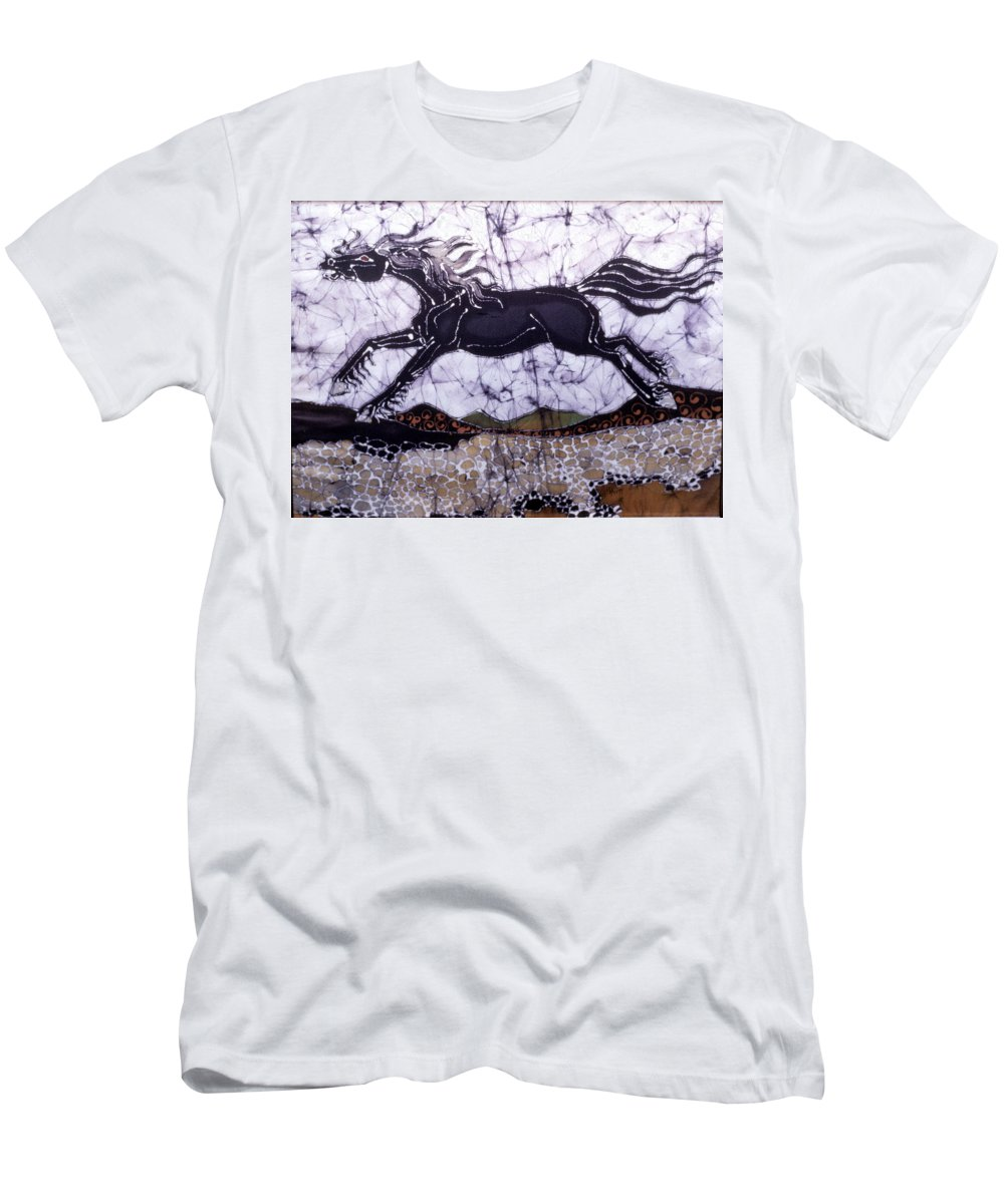 Stallion Men's T-Shirt (Athletic Fit) featuring the tapestry - textile Black Stallion Gallops Over Stones by Carol Law Conklin