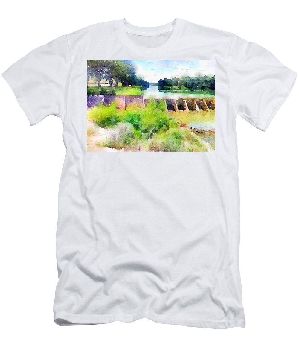 Blanco Men's T-Shirt (Athletic Fit) featuring the digital art Blanco River by Wendy Biro-Pollard