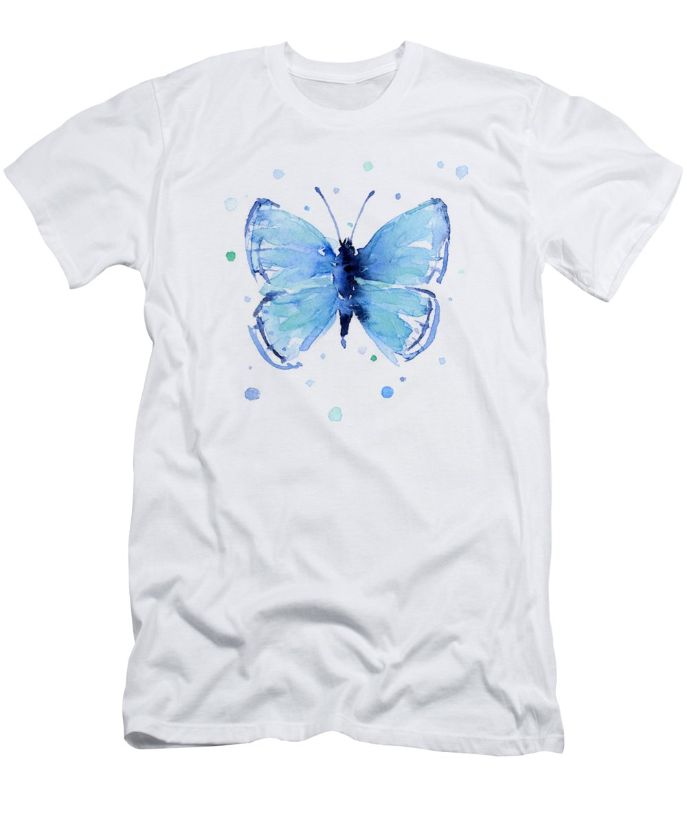 Watercolor Men's T-Shirt (Athletic Fit) featuring the painting Blue Abstract Butterfly by Olga Shvartsur