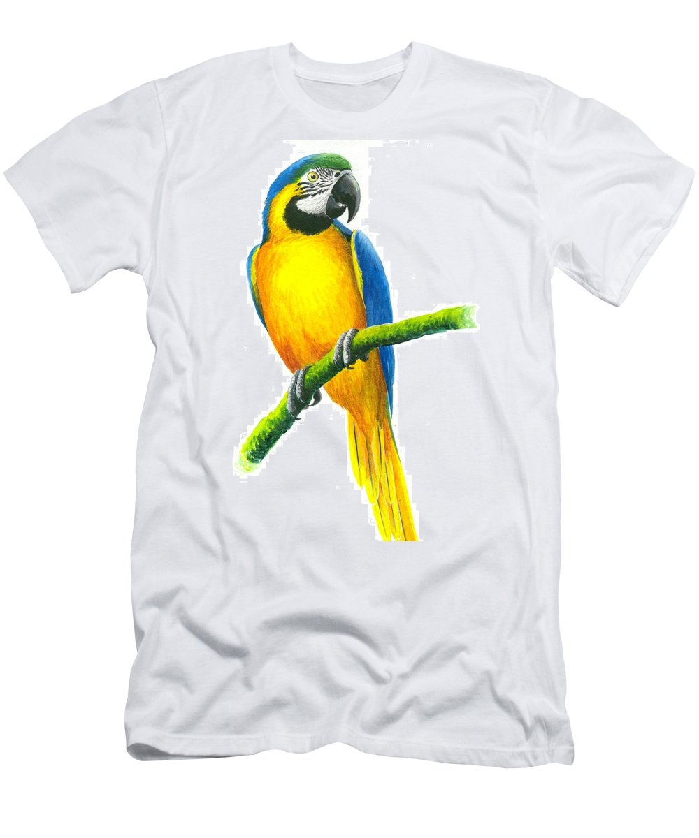Chris Cox Men's T-Shirt (Athletic Fit) featuring the painting Blue And Gold Macaw by Christopher Cox