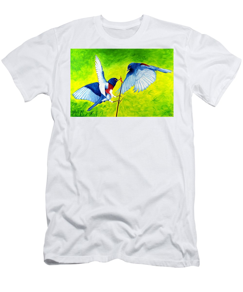 Bird Men's T-Shirt (Athletic Fit) featuring the painting Blue Birds by Marilyn Hilliard