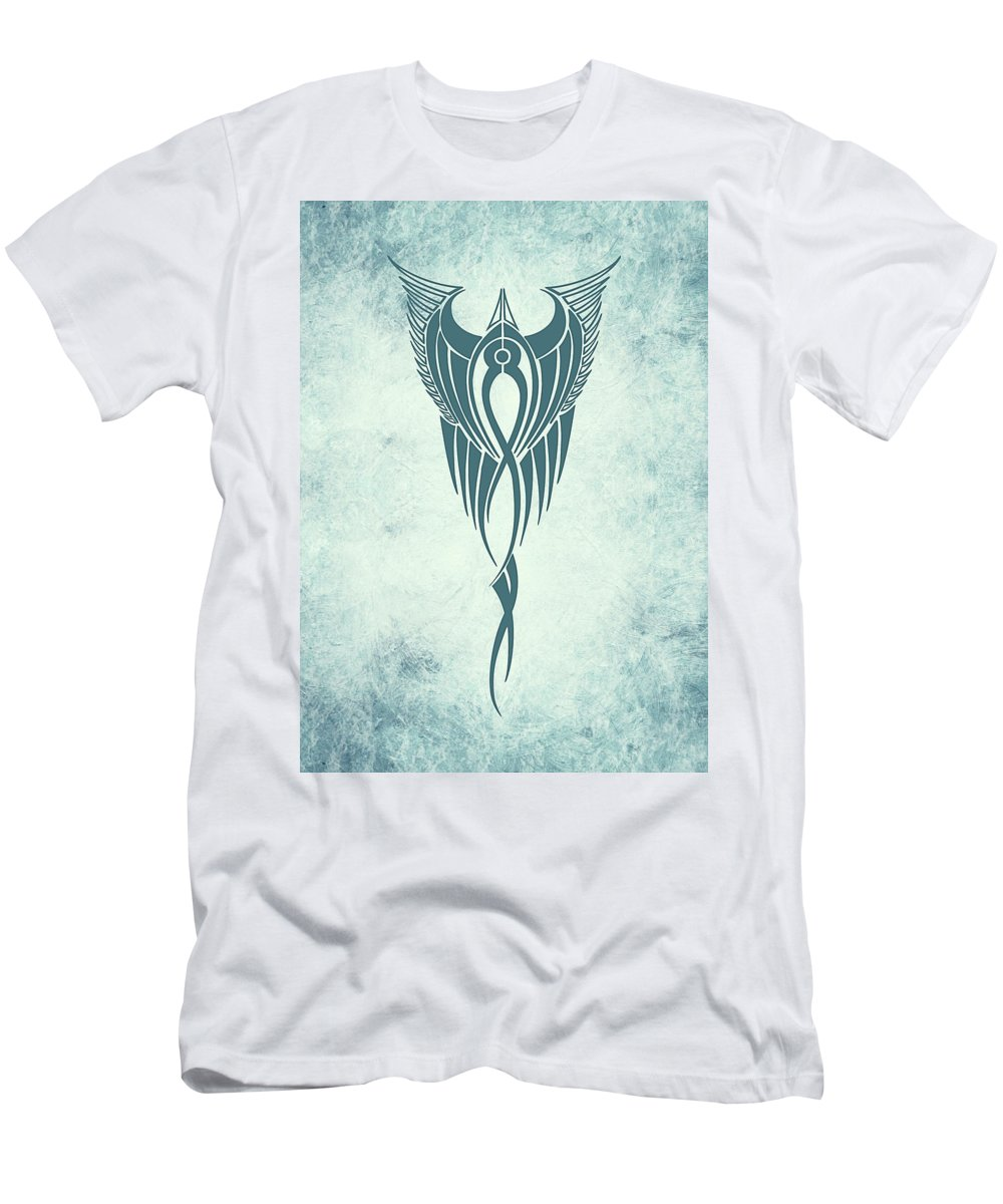 Blue Flight Contemporary Minimalism Men's T-Shirt (Athletic Fit) featuring the mixed media Blue Flight Contemporary Minimalism by Georgiana Romanovna