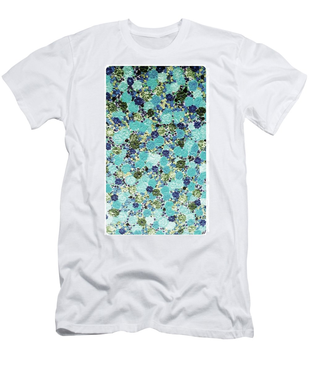 Flowers Blue Painting Men's T-Shirt (Athletic Fit) featuring the painting Blue Flowers by Jilly Curtis