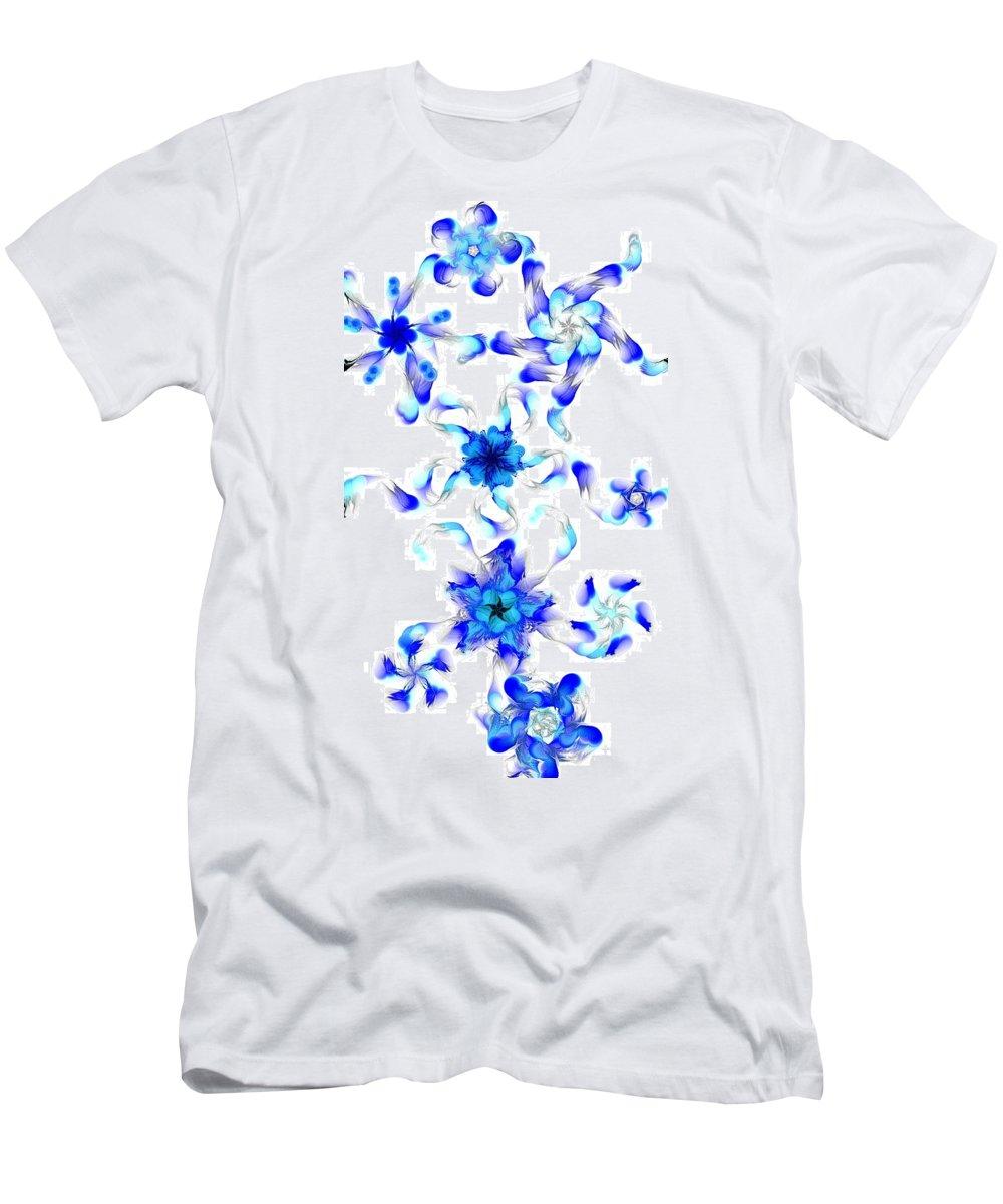 Digital Photograph Men's T-Shirt (Athletic Fit) featuring the digital art Blue Fractal Flowers by David Lane