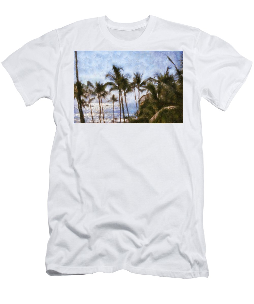 Blue Men's T-Shirt (Athletic Fit) featuring the painting Blue Hawaii by Paulette B Wright