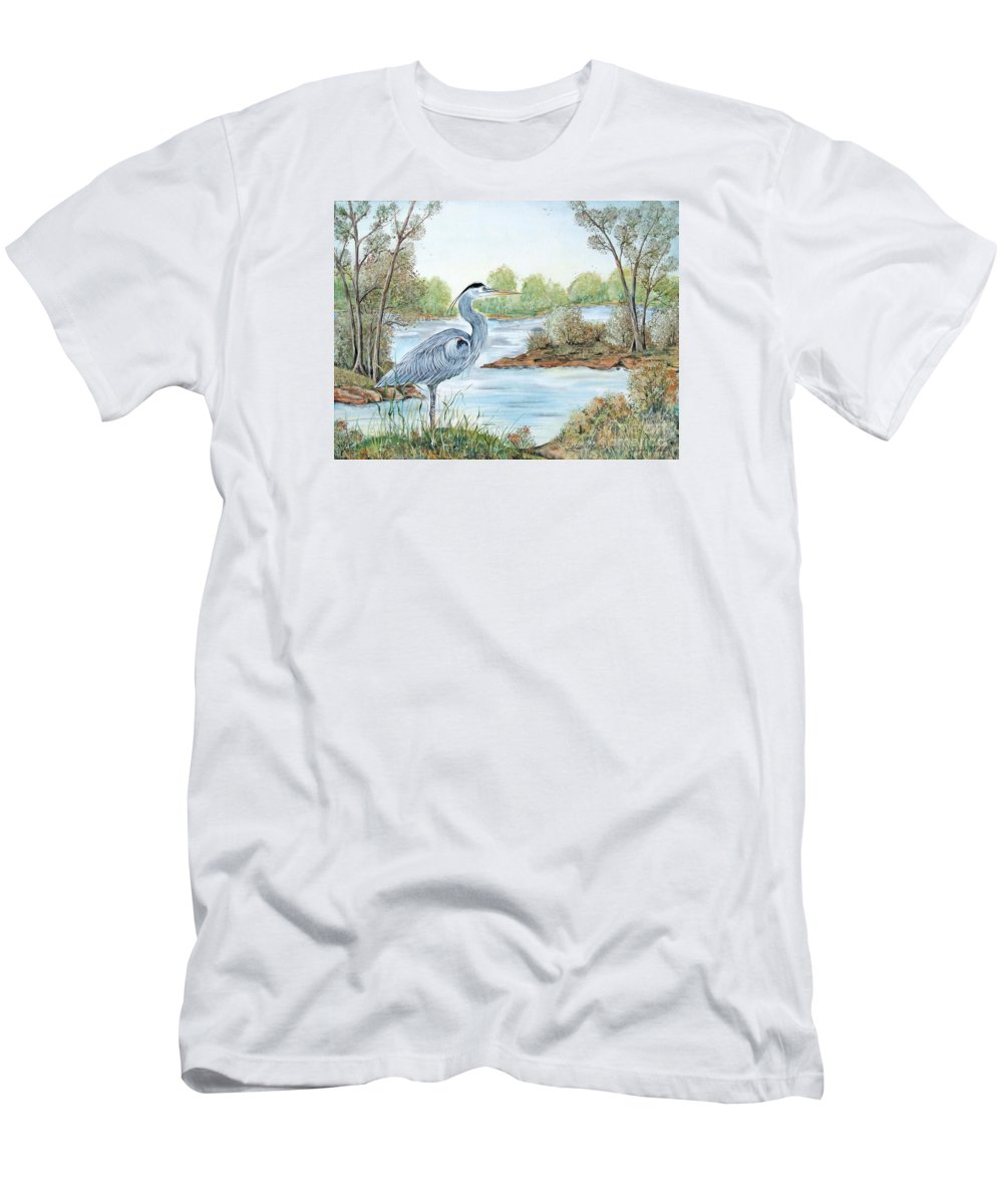 Heron Men's T-Shirt (Athletic Fit) featuring the painting Blue Heron Of The Marshlands by Jean PLout