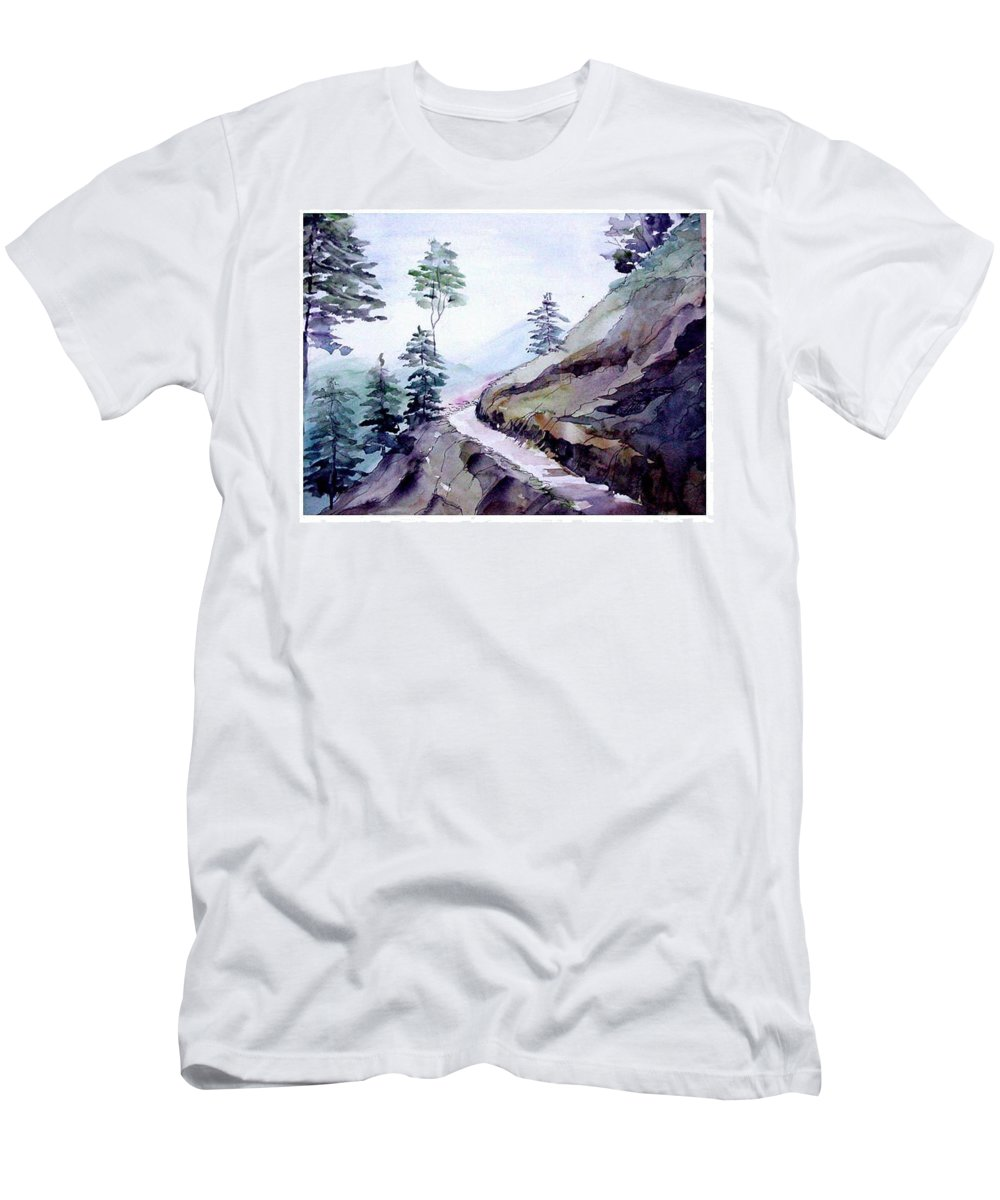 Landscape Men's T-Shirt (Athletic Fit) featuring the painting Blue Hills by Anil Nene