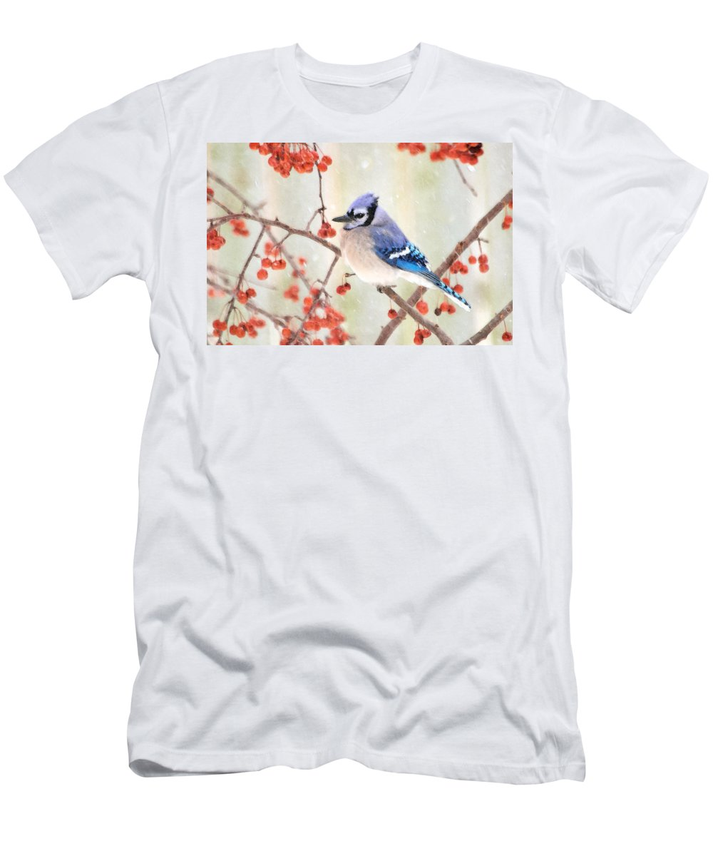 Blue Jay Photographs Men's T-Shirt (Athletic Fit) featuring the photograph Blue Jay In Snowfall by Betty LaRue