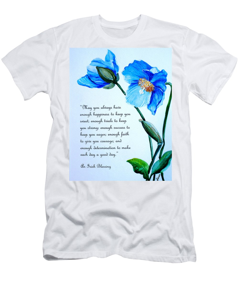Blue Meconopsis Painting Men's T-Shirt (Athletic Fit) featuring the painting Blue Meconopsis Poppy by Karin Dawn Kelshall- Best
