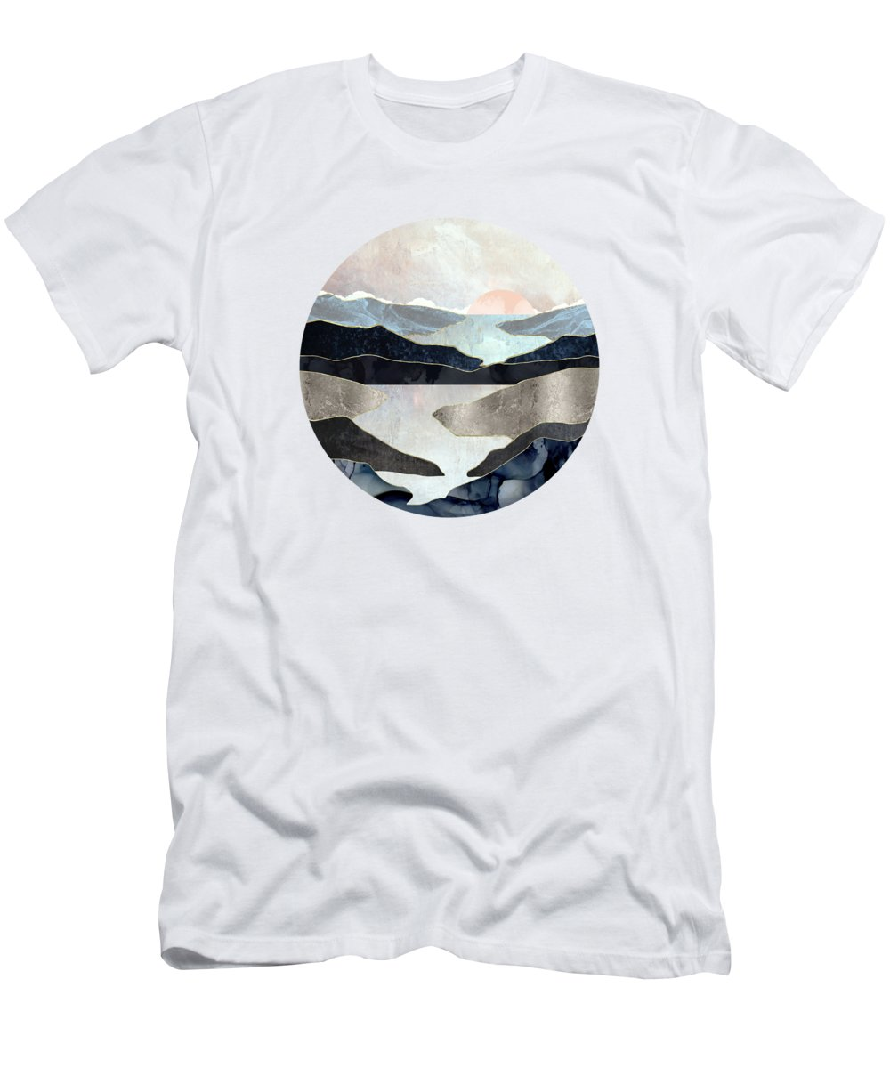 Blue Men's T-Shirt (Athletic Fit) featuring the digital art Blue Mountain Lake by Spacefrog Designs