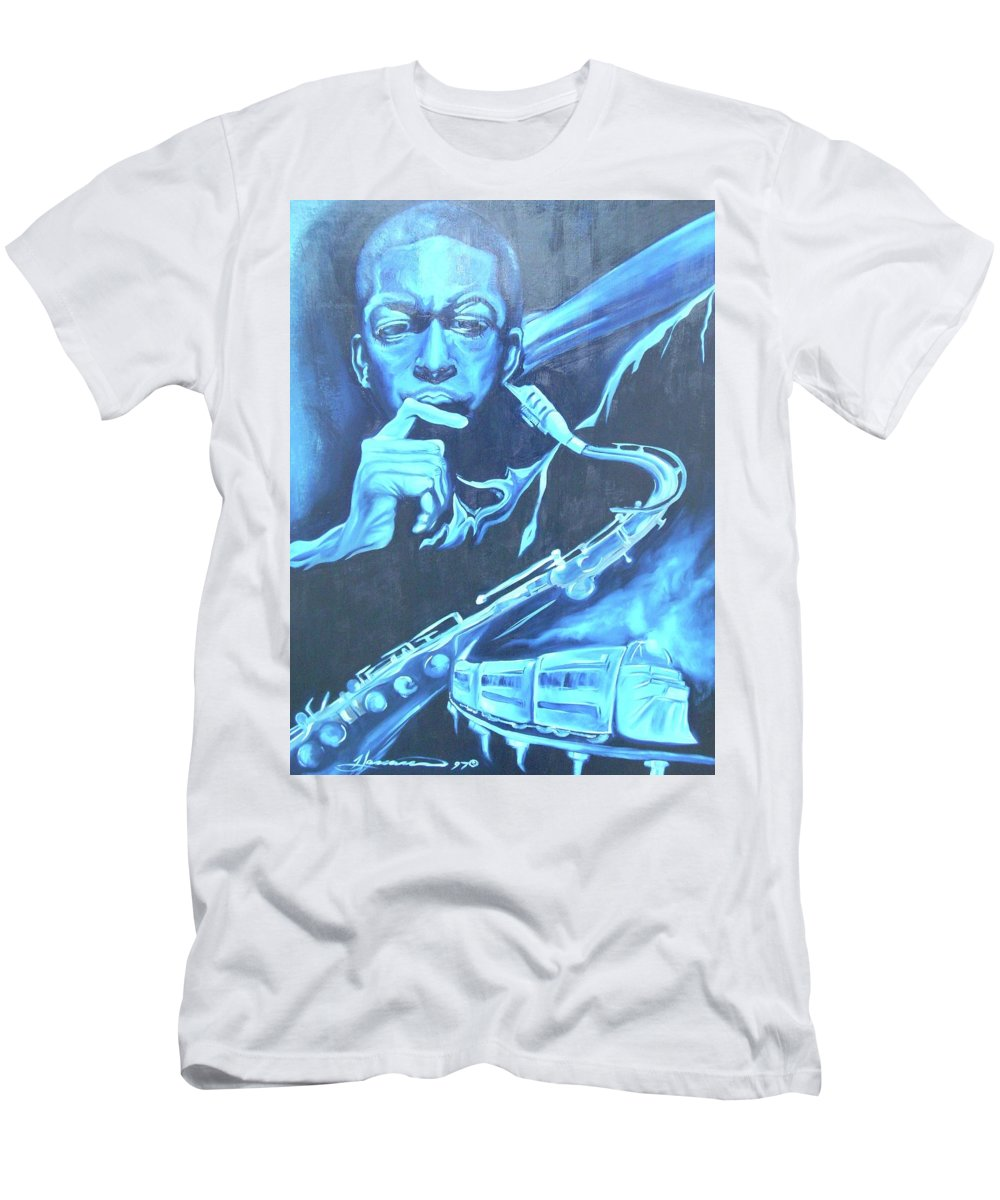 Jazz Men's T-Shirt (Athletic Fit) featuring the painting Blue Note by Hasaan Kirkland