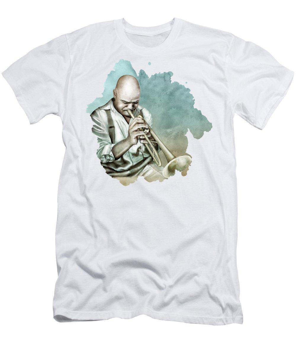 Digital Art T-Shirt featuring the digital art Blue Note- Jazz by Claude Peyrouse