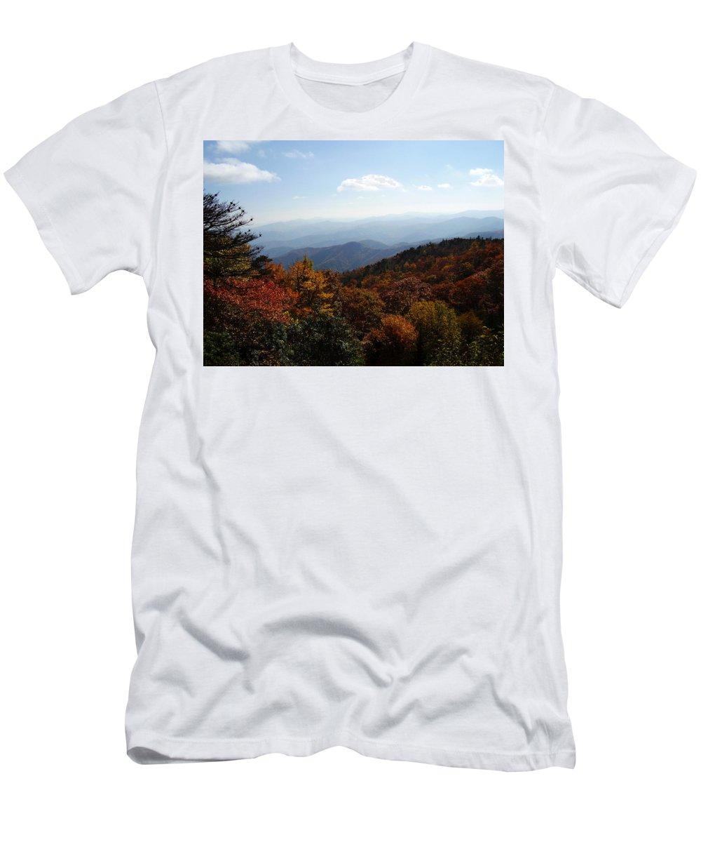 Blue Ridge Mountains Men's T-Shirt (Athletic Fit) featuring the photograph Blue Ridge Mountains by Flavia Westerwelle