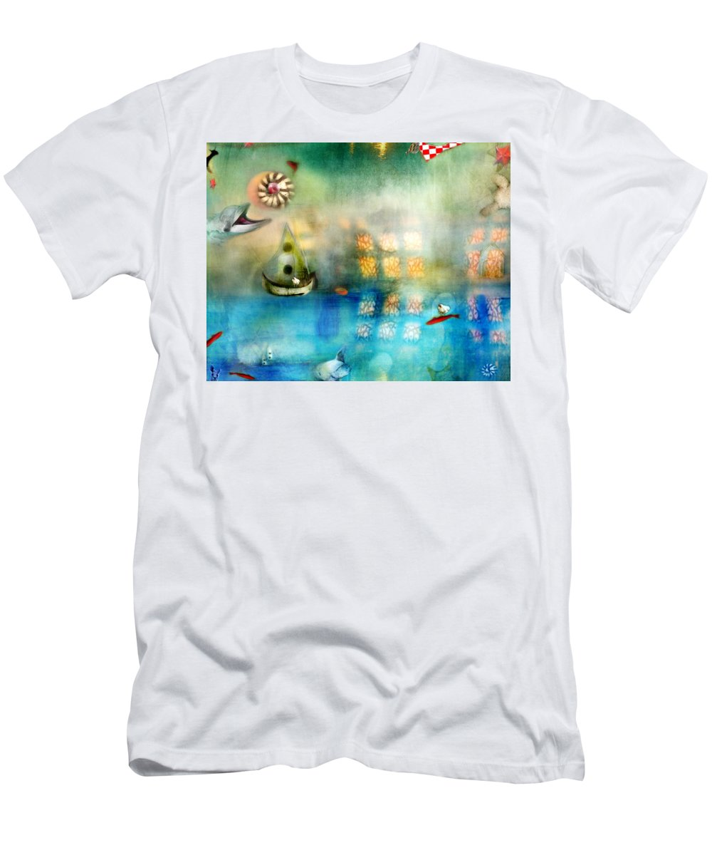Blue Sea Men's T-Shirt (Athletic Fit) featuring the photograph Blue Sea by Karen Divine