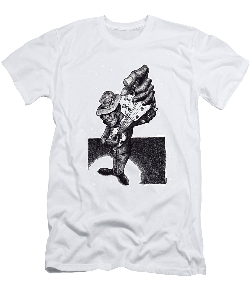 Blues Men's T-Shirt (Athletic Fit) featuring the drawing Blues Guitar by Tobey Anderson