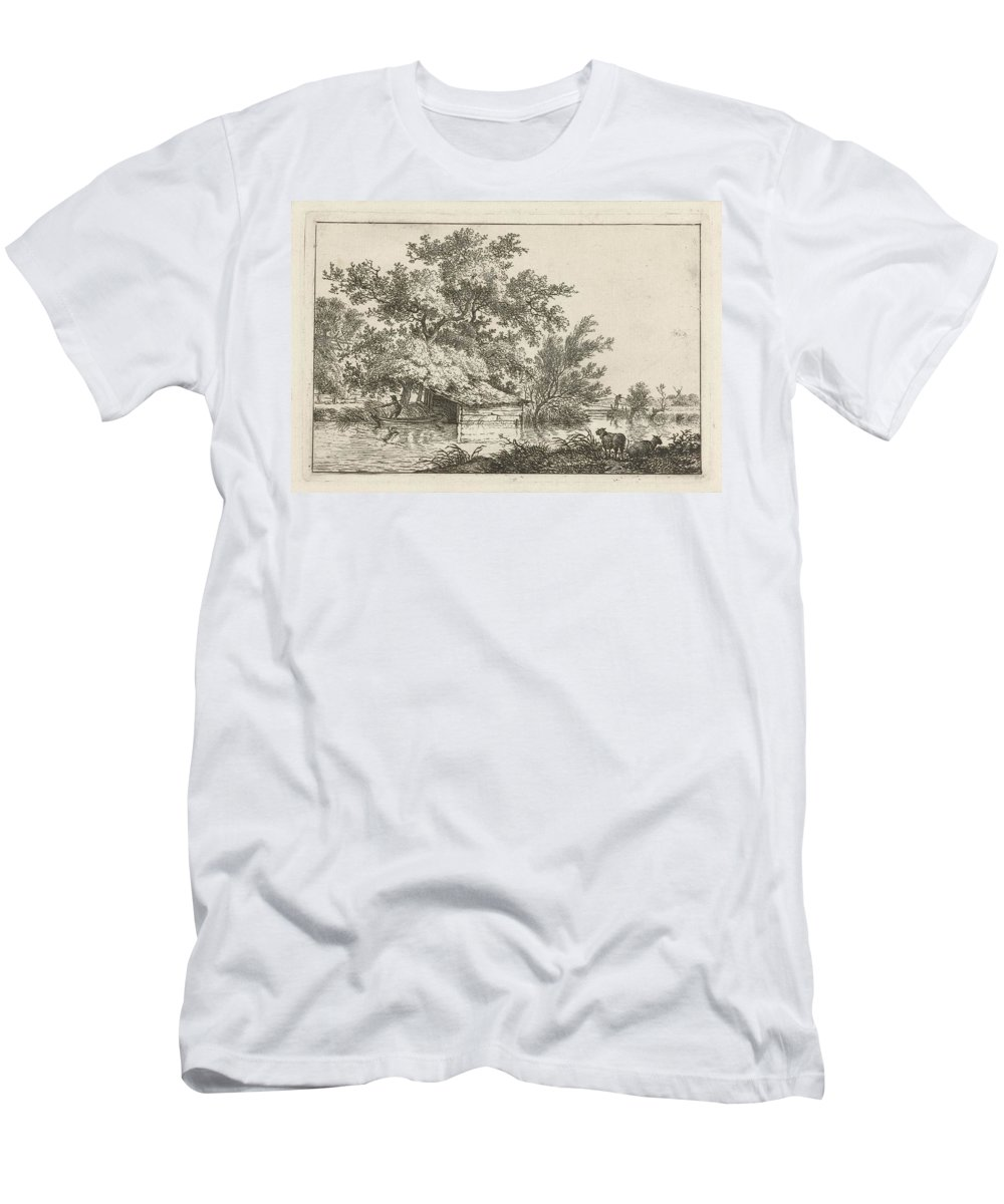 Voorkeursbeeld Men's T-Shirt (Athletic Fit) featuring the painting Boat With Boathouse by Celestial Images
