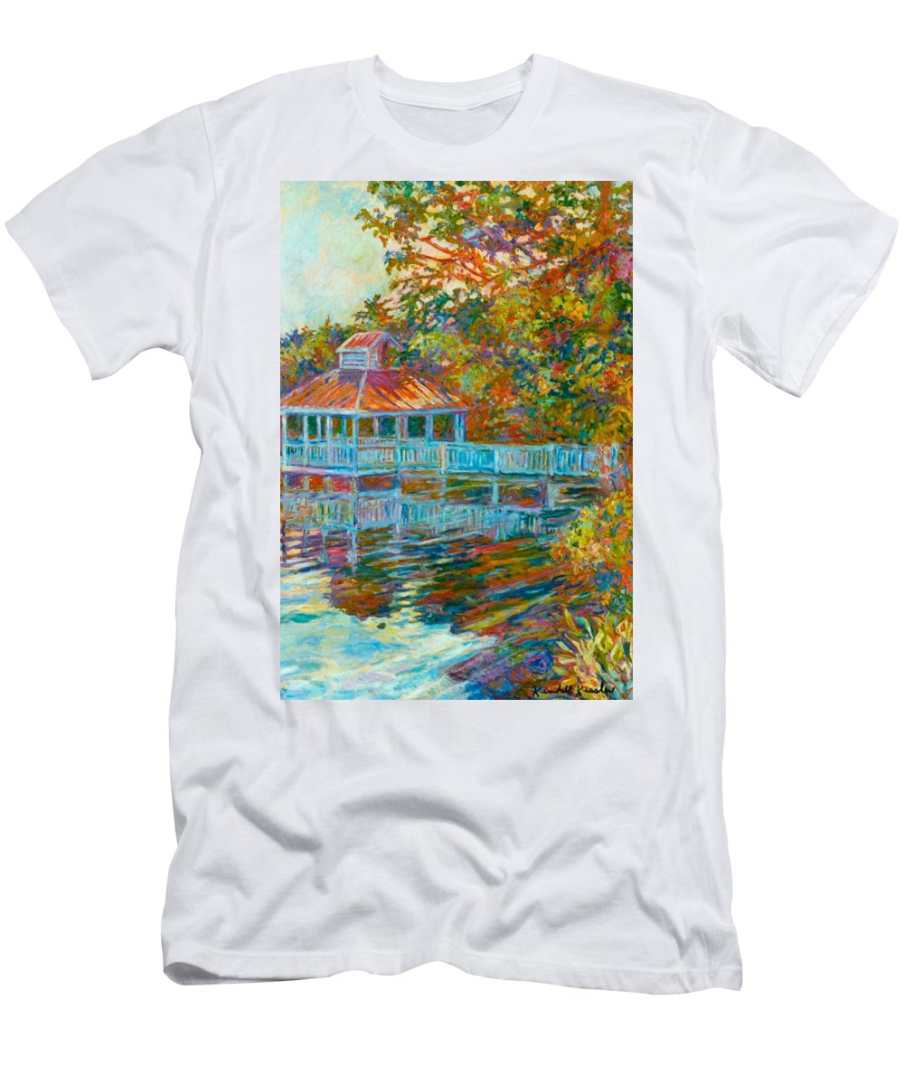 Mountain Lake Men's T-Shirt (Athletic Fit) featuring the painting Boathouse At Mountain Lake by Kendall Kessler