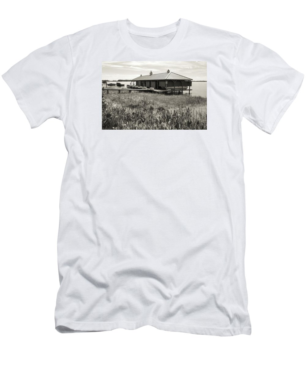 Boathouse Men's T-Shirt (Athletic Fit) featuring the photograph Boathouse by Dario Boriani