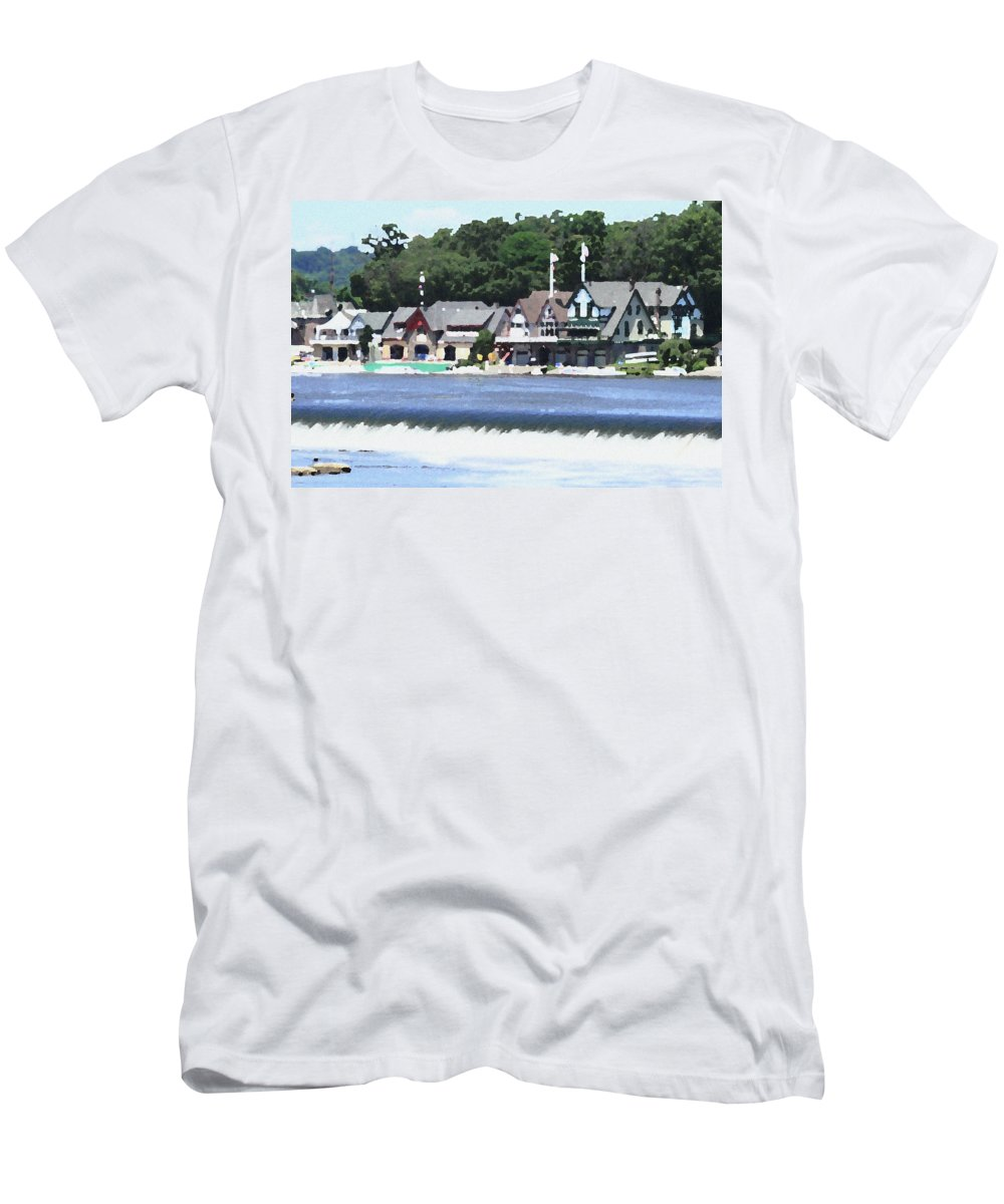 Boathouse Men's T-Shirt (Athletic Fit) featuring the photograph Boathouse Row - Palette Knife by Lou Ford