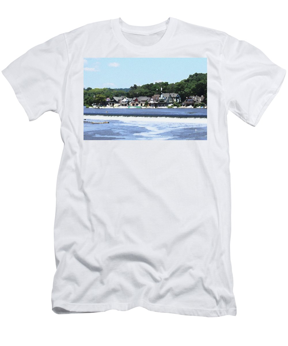 Boathouse Men's T-Shirt (Athletic Fit) featuring the photograph Boathouse Row 2 - Palette Knife by Lou Ford