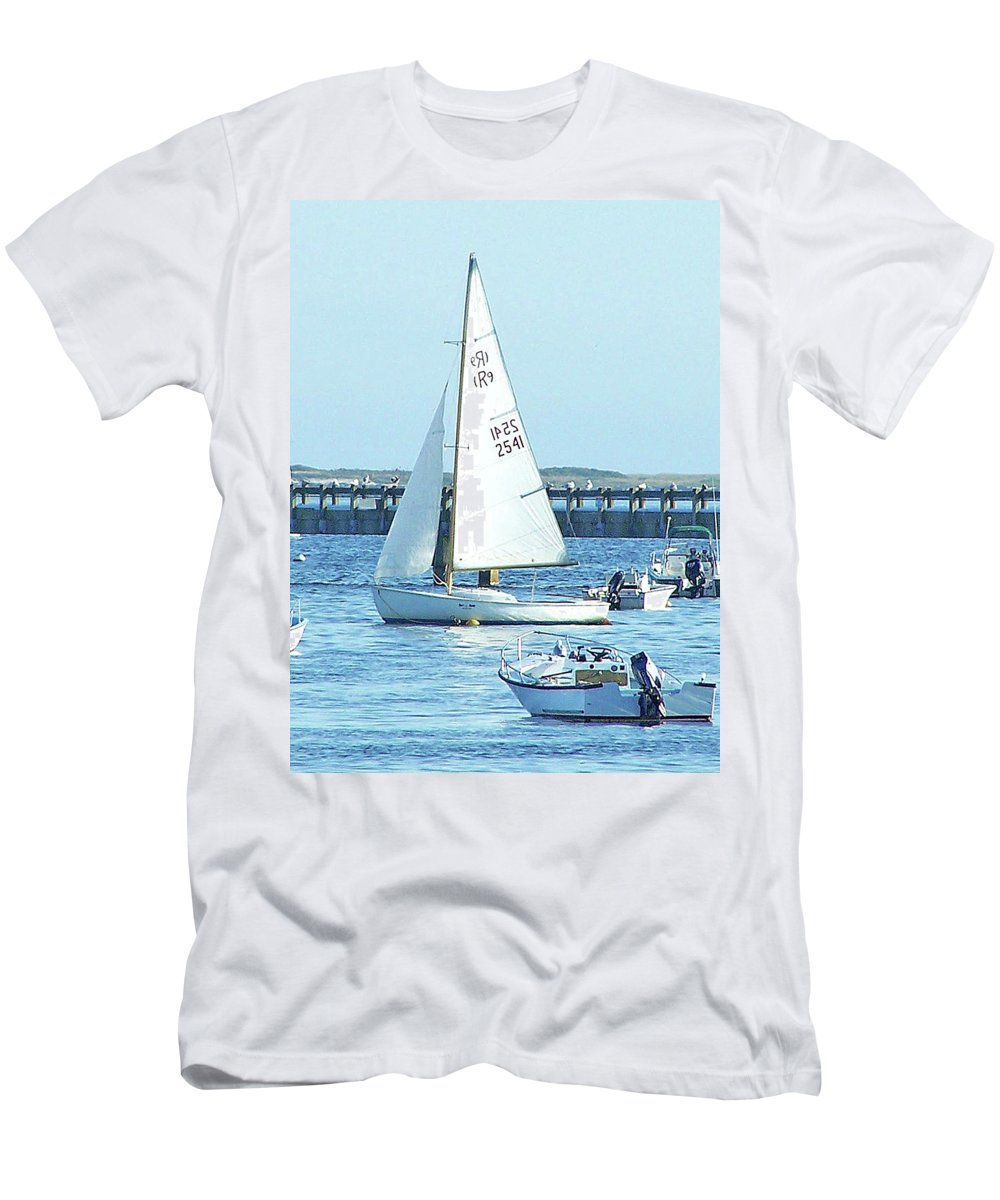 Boats Men's T-Shirt (Athletic Fit) featuring the photograph Boats At Provincetown by Marilyn Holkham