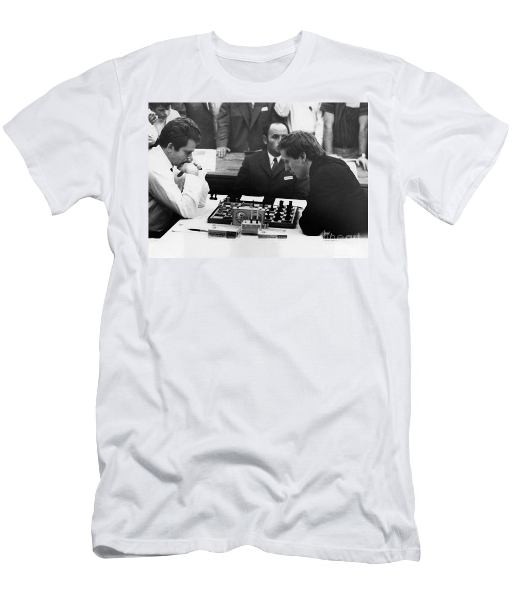 1970 Men's T-Shirt (Athletic Fit) featuring the photograph Bobby Fischer (1943-2008) by Granger