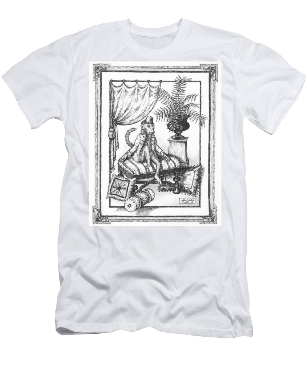 Black Men's T-Shirt (Athletic Fit) featuring the drawing Bombay Monkey I by Adam Zebediah Joseph