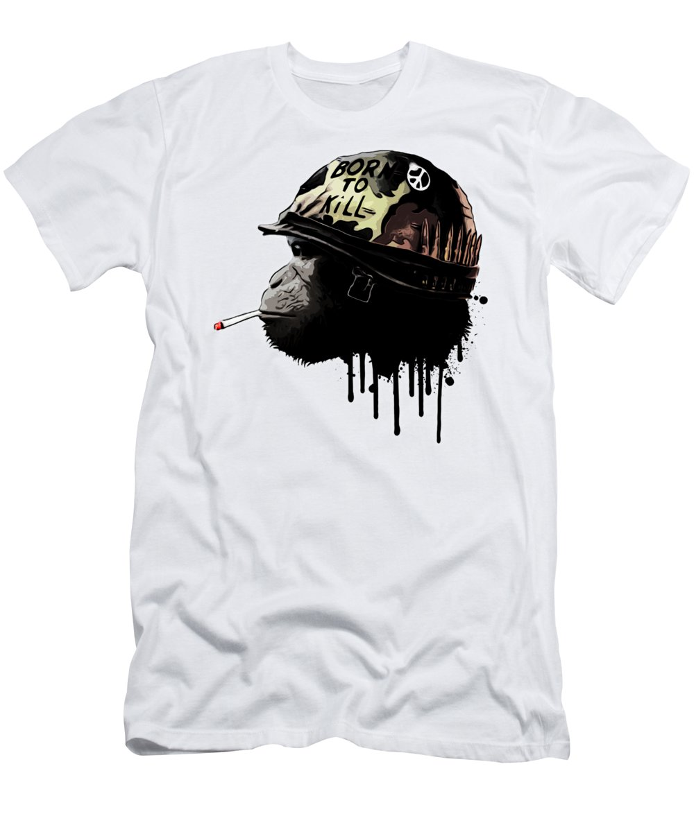 Monkey Men's T-Shirt (Athletic Fit) featuring the digital art Born To Kill by Nicklas Gustafsson