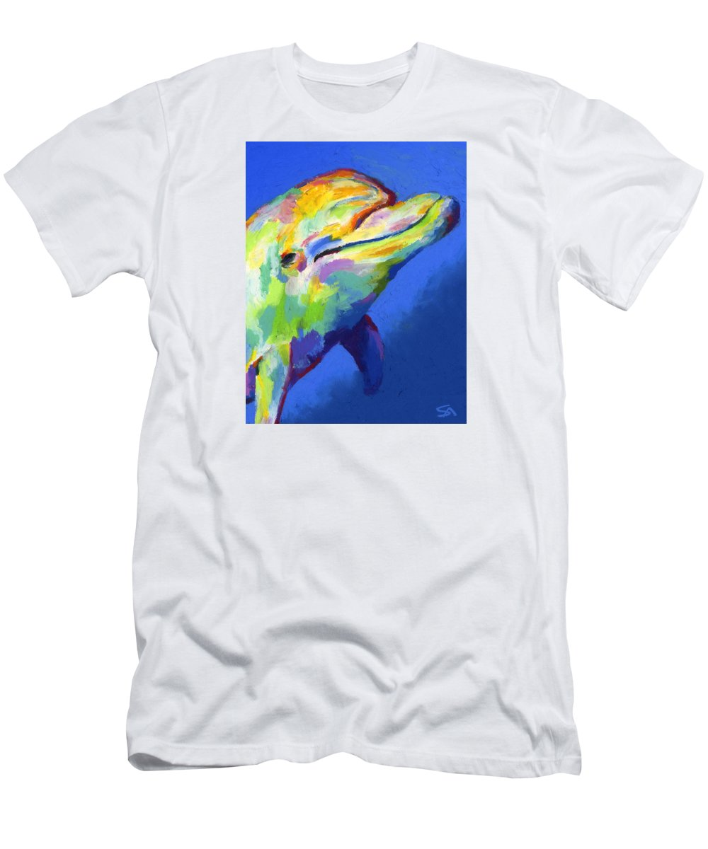 Dolphin Men's T-Shirt (Athletic Fit) featuring the painting Born To Live Free by Stephen Anderson