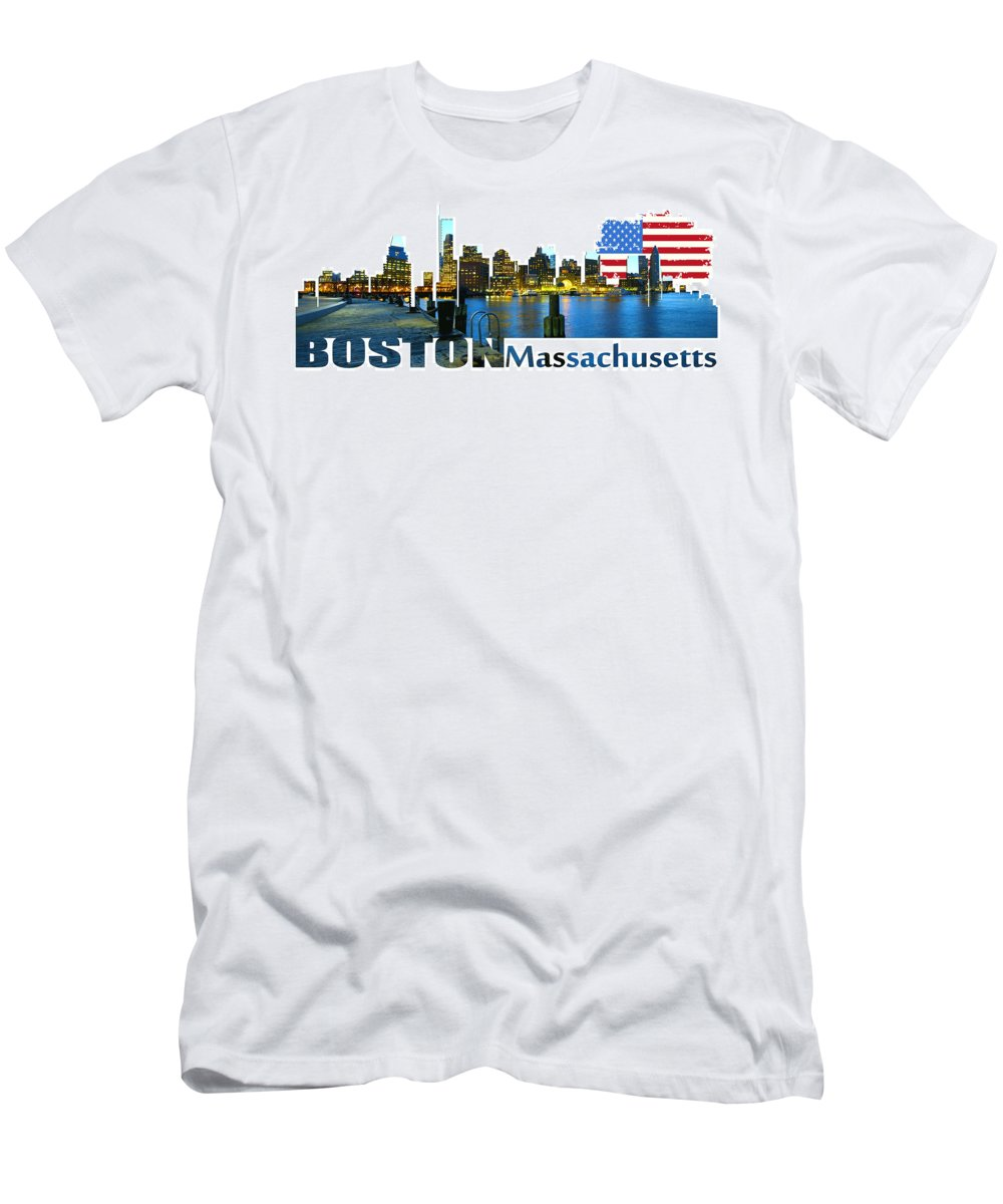 Golden Gate Bridge Men's T-Shirt (Athletic Fit) featuring the digital art Boston Skyline by Don Kuing