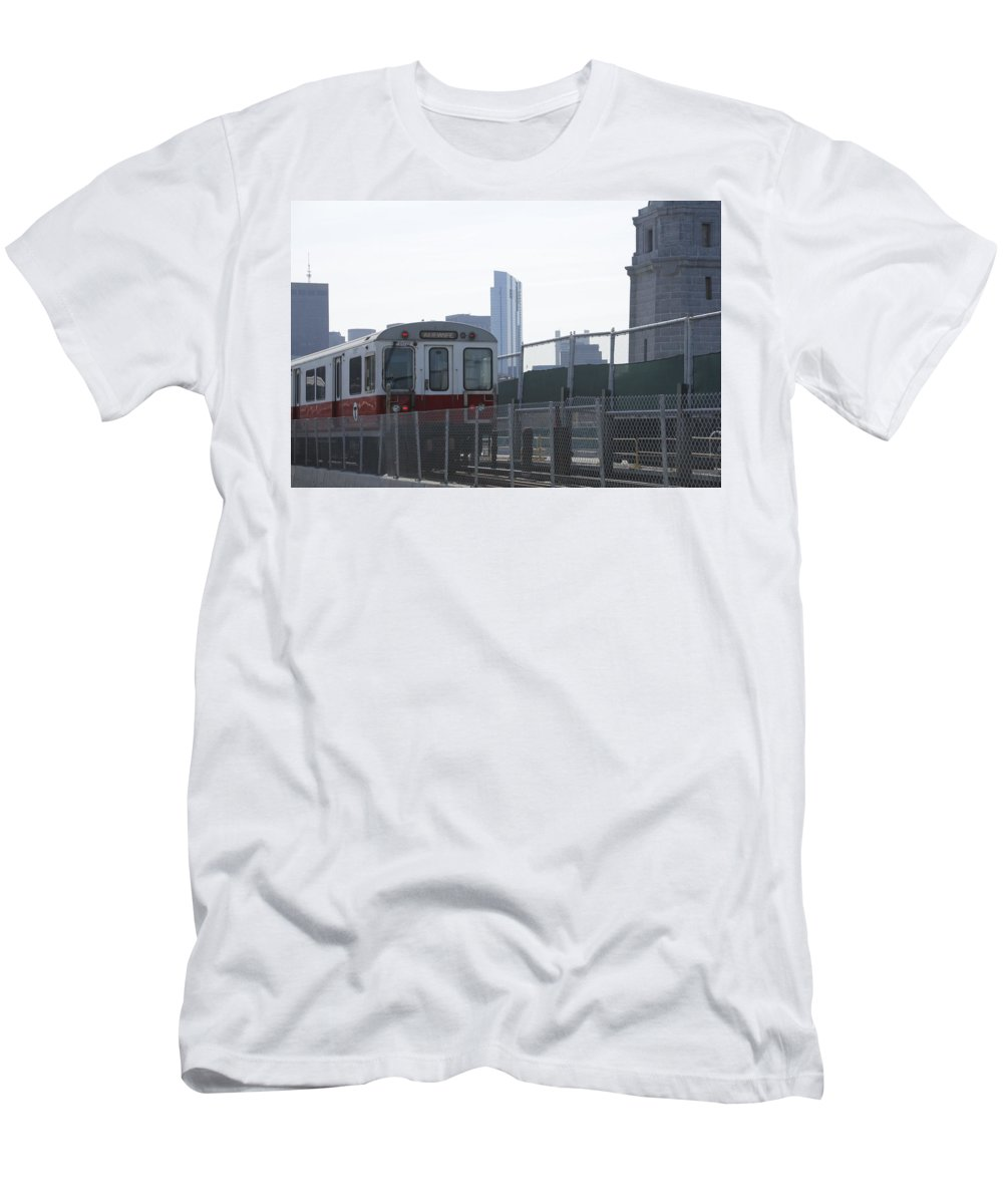 Boston T Men's T-Shirt (Athletic Fit) featuring the photograph Boston Subway The T by Valerie Collins