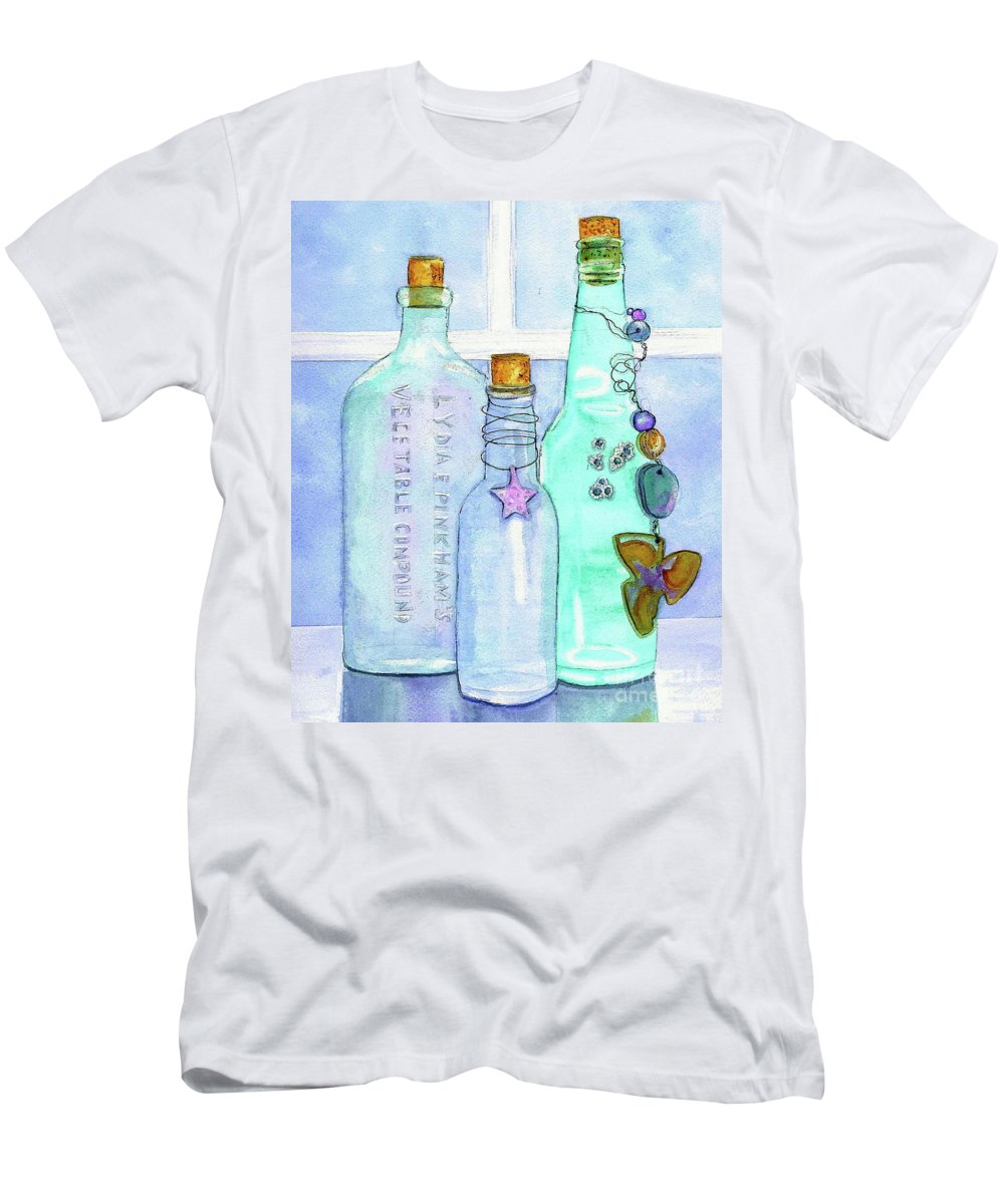 Bottles T-Shirt featuring the painting Bottles With Barnacles by Midge Pippel