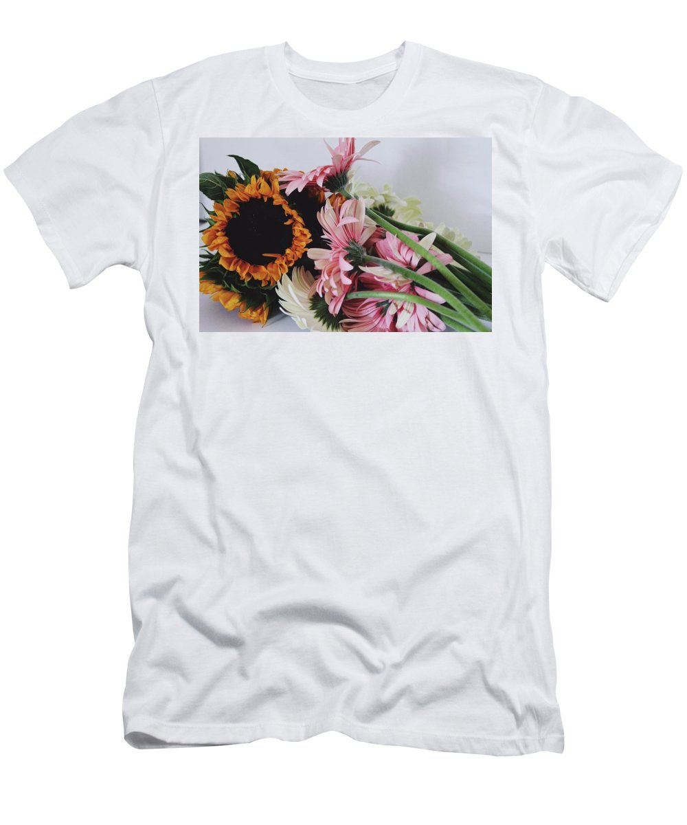 Sunflowers Men's T-Shirt (Athletic Fit) featuring the photograph Bouquet by Jessica Girardin