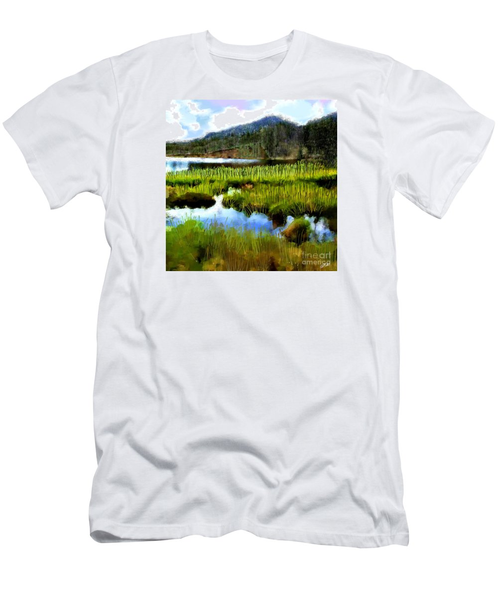 Lake Men's T-Shirt (Athletic Fit) featuring the painting Brainard Lake Rocky Mountain National Park by Mia Hansen