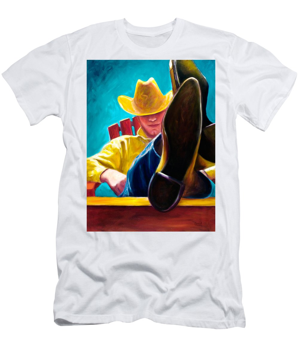 Western T-Shirt featuring the painting Break Time by Shannon Grissom