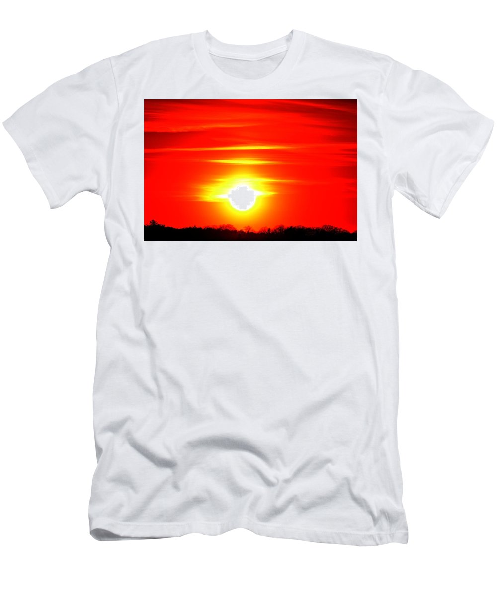 Red Men's T-Shirt (Athletic Fit) featuring the photograph Breakthrough by Lyle Crump