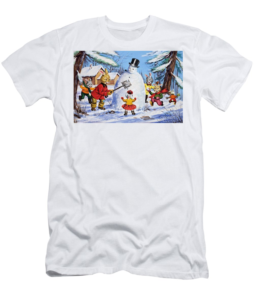 Children Men's T-Shirt (Athletic Fit) featuring the painting Brer Rabbit From Once Upon A Time by Virginio Livraghi