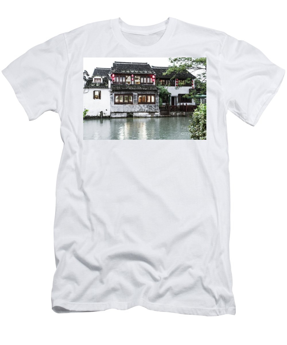 Traditional Men's T-Shirt (Athletic Fit) featuring the photograph Brick House On River by Josephine Cleopahrt