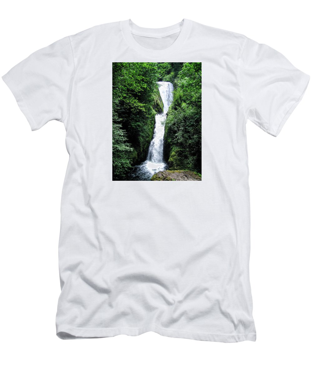 Landscapes Men's T-Shirt (Athletic Fit) featuring the photograph Bridal Veil Falls by Barbara Griswold-Kridner