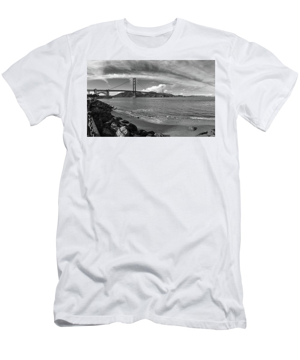 Black And White Men's T-Shirt (Athletic Fit) featuring the photograph Bridge And Sea Black And White by Sierra Vance