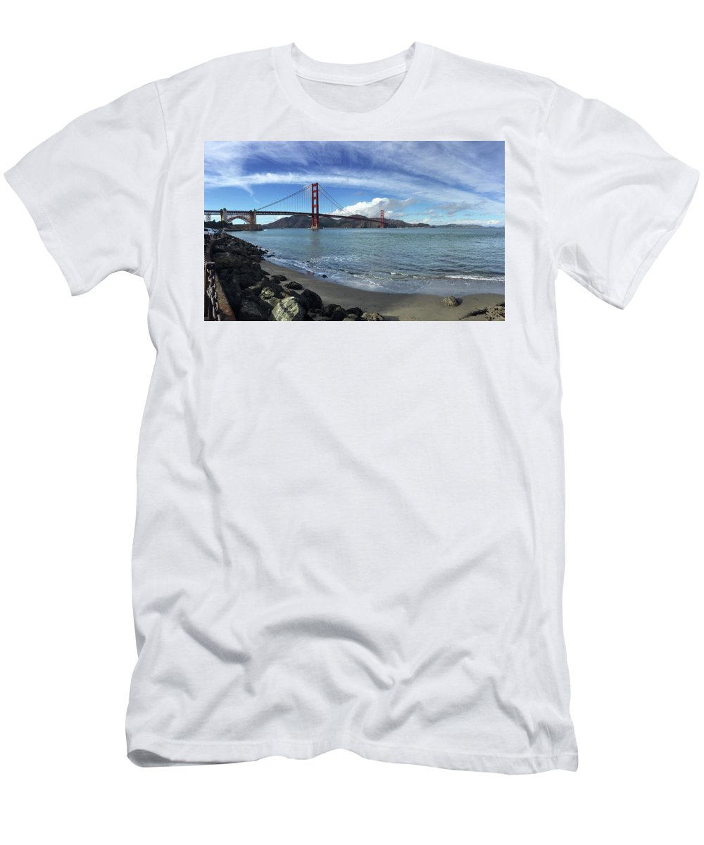 San Francisco Men's T-Shirt (Athletic Fit) featuring the photograph Bridge And Sea by Sierra Vance