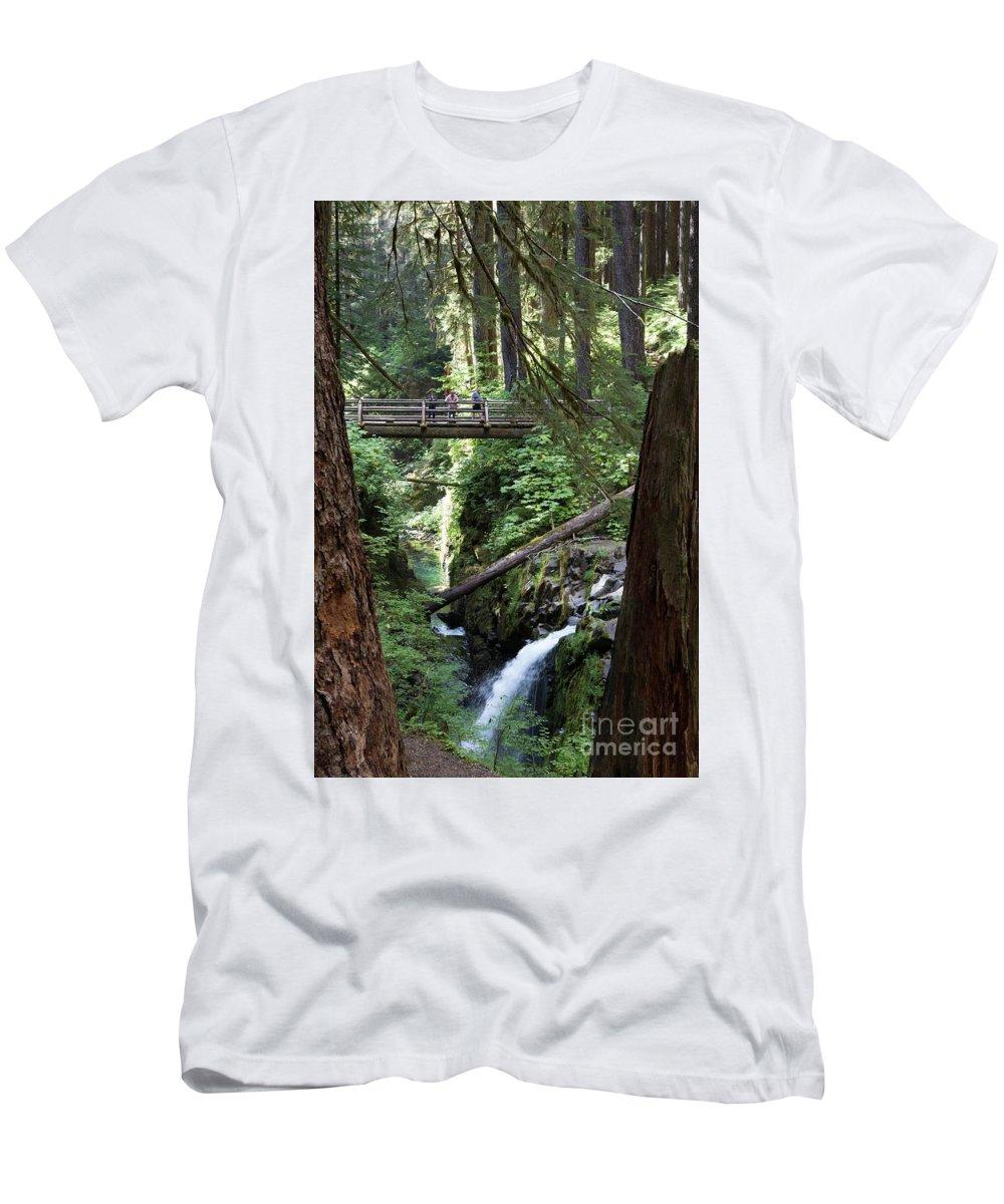 Dan Hartford Photo Men's T-Shirt (Athletic Fit) featuring the photograph Bridge At Sol Duc Fall #1 by Dan Hartford