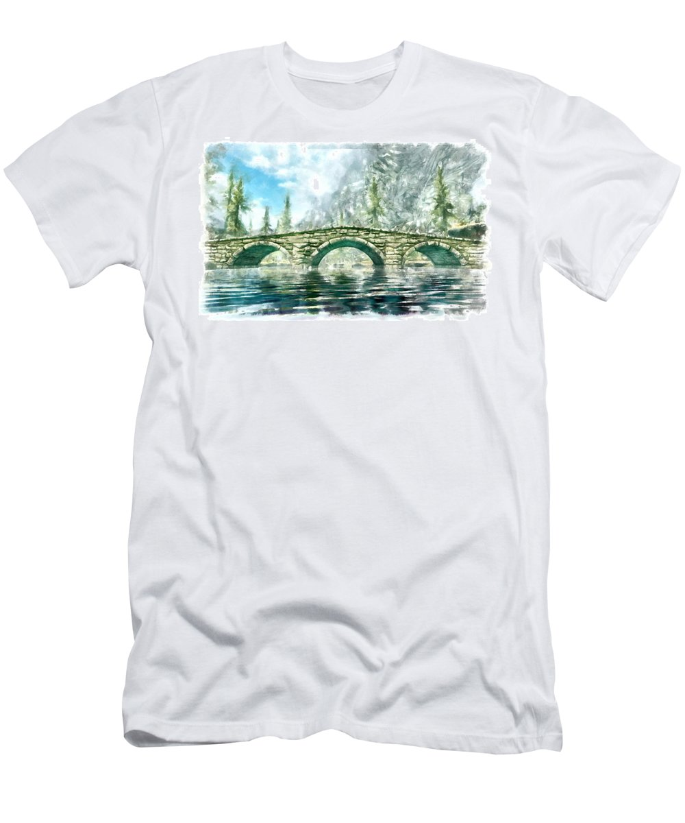 Bridge Men's T-Shirt (Athletic Fit) featuring the digital art Bridge by Marjan Mencin