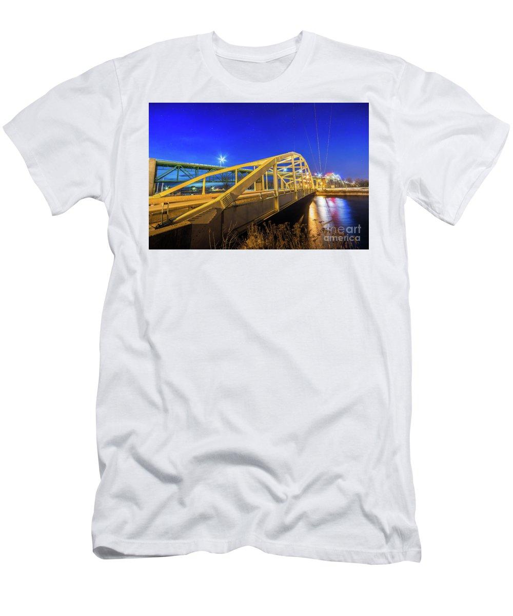 Bridge Meridian Men's T-Shirt (Athletic Fit) featuring the photograph Bridge Meridian Sault Ste. Marie, Michigan -6792 by Norris Seward