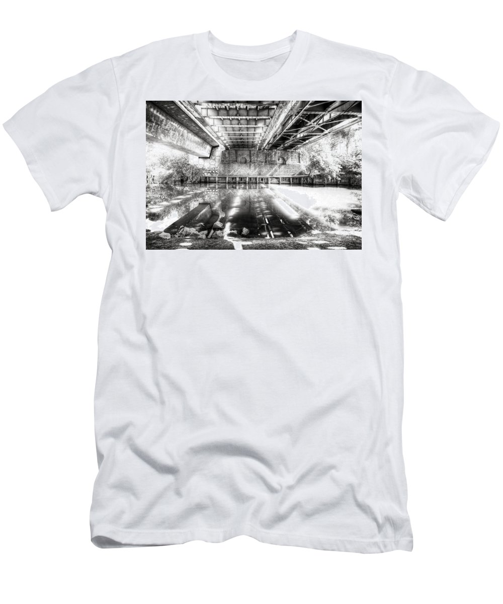 Bridge Men's T-Shirt (Athletic Fit) featuring the photograph Bridge Over Troubled Water by Wayne Sherriff