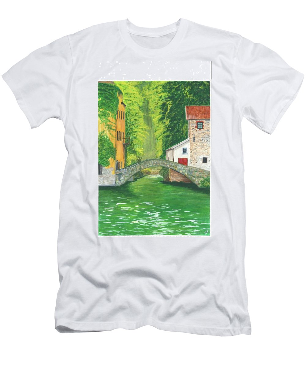Buildings Men's T-Shirt (Athletic Fit) featuring the painting Bridge by Stephen Riffe
