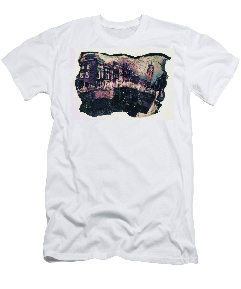 Delft Men's T-Shirt (Athletic Fit) featuring the photograph Bridge That Curved, Delft, Holland by Lila Bahl