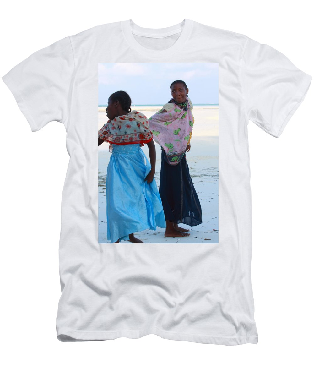 People Men's T-Shirt (Athletic Fit) featuring the photograph Bright Blue Dress by Aidan Moran